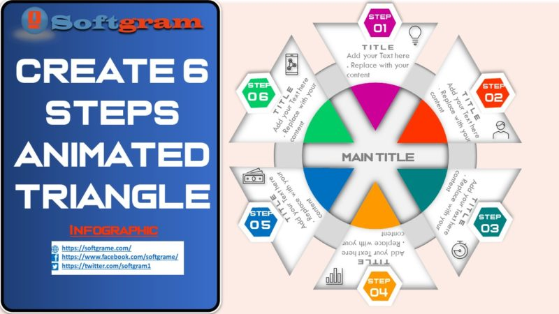 Created Animated 6 Steps triangle Infographic