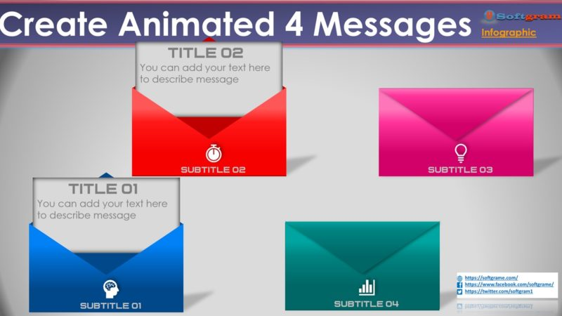 Created Animated 4 Messages Envelopes Infographic