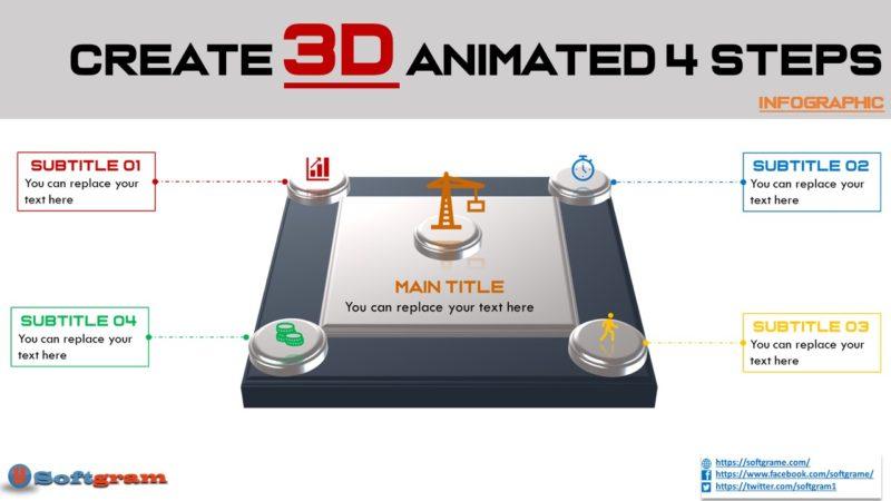 Create  Animated 3D 4 Steps Infographic