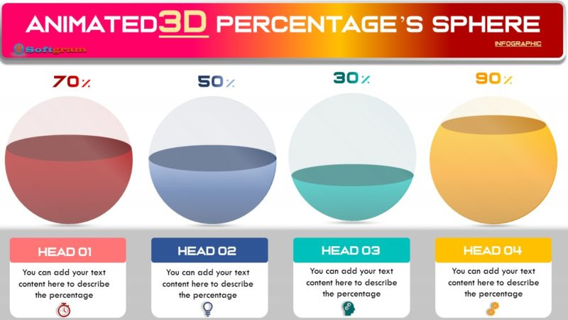 Create  Animated 3D Precentag's spheres Infographic