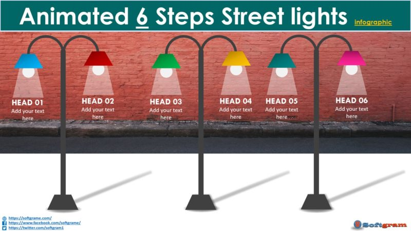 Create Animated 6 Steps Street lights Infographic