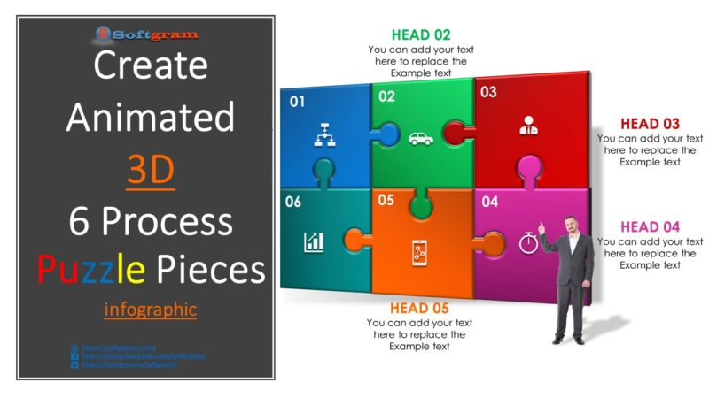 Create animated 3D 6 Process Puzzle infographic