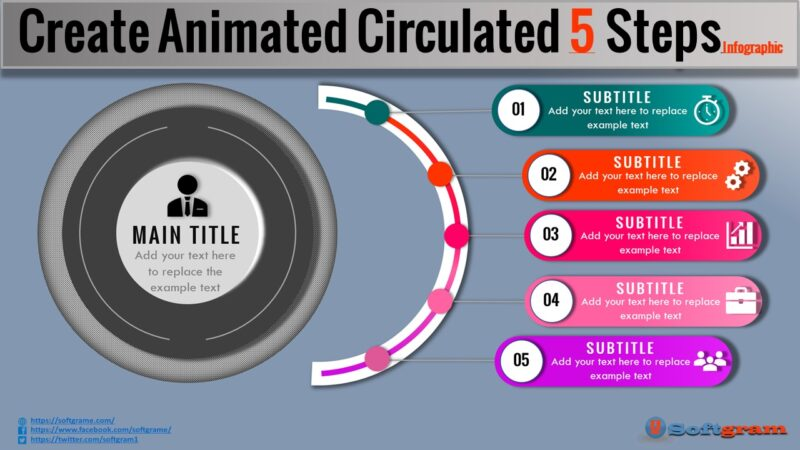 Create animated Circulated 5 Steps infographic