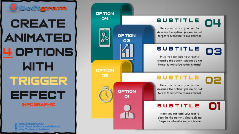Create Animated 4 Options with Trigger Effect Infographic