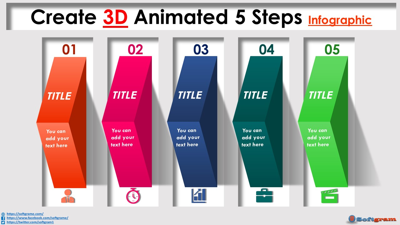 Create 3 D Animated 5 Steps Infographic