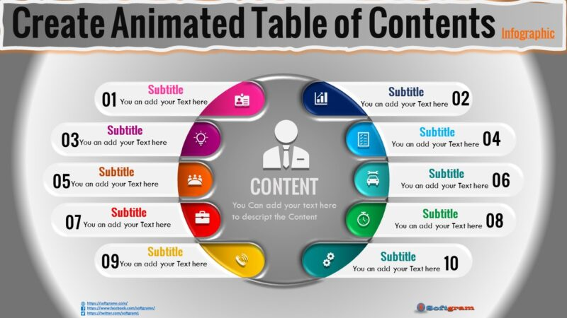 Create  Animated Table of Contents Infographic